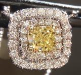 SOLD....Yellow Diamond Pendant: .50ct Fancy Yellow I1 Cushion Cut Diamond Halo Pendant GIA R6578