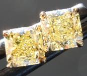 SOLD...Yellow Diamond Earrings: .85ctw Fancy Yellow VVS Radiant Cut Diamond Stud Earrings GIA R6581