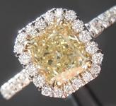 1.01ct Brownish Greenish Yellow VS2 Radiant Cut Diamond Ring R6624