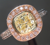 1.00ct Fancy Yellow I1 Cushion Cut Diamond Ring R6628