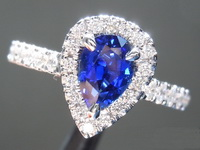 SOLD.....Sapphire Ring: .94ct Blue Pear Shape Sapphire and Diamond Halo Ring AGL R6688