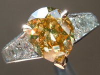 1.74ct Deep Brownish Yellowish Orange SI2 Pear Diamond Ring GIA R6710
