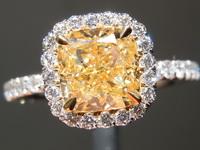 SOLD...Yellow Diamond Ring: 1.58ct U-V VVS2 Cushion Modified Brilliant Diamond Halo Ring GIA R6729