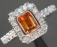 SOLD....0.51ct Brown-Orange SI2 Emerald Cut Diamond Ring R6835