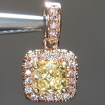 SOLD.......Yellow Diamond Pendant: .54ct Fancy Yellow SI1 Cushion Cut Pink Lemonade™ Diamond Pendant GIA R6866