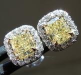 SOLD...1.01cts Fancy Yellow VS Cushion Cut Diamond Earrings R6867