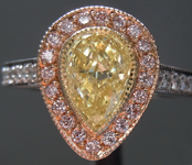 SOLD....Yellow Diamond Ring: .83ct Fancy Light Yellow VS2 Pear Shape Pink Lemonade™Diamond Ring GIA R6898