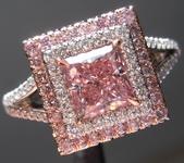 0.96ct Intense Purplish Pink SI2 Princess Cut Diamond Ring GIA R6913