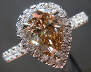 SOLD....1.11ct Fancy Dark Orangy Brown SI2 Pear Shape Diamond Ring GIA R6981