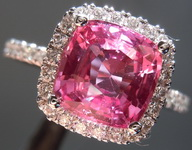 SOLD.....Sapphire Ring: 2.37ct Pink Cushion Cut Sapphire and Diamond Ring R6986