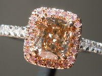 SOLD....Brown Diamond Ring: 1.02ct Fancy Yellow Brown VS1 Cushion Modified Brilliant Pink Diamond Halo Ring R7074