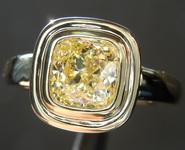 0.91ct Fancy Yellow SI2 Cushion Cut Diamond Ring R7241