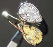 SOLD...1.48ctw Yellow and Colorless Pear Shape Diamond Ring R7266