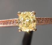 0.90ct Yellow VS1 Cushion Cut Diamond Ring R7286