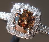 1.19ct  Brown SI1 Cushion Cut Diamond Ring R7491