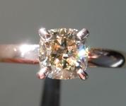 1.01ct Light Brown SI1 Cushion Cut Diamond Ring R7495