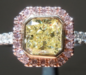 SOLD...1.15ct Fancy Yellow I2 Radiant Cut Diamond Ring R7574
