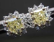 SOLD....1.01cts Yellow VS Radiant Cut Diamond Earrings R7785