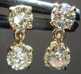 SOLD....90ctw Fancy Light Brownish Yellow VS2-SI1 Round Brilliant  Diamond Earrings R7810