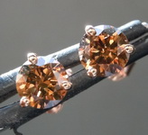 SOLD...1.00ctw Deep Orangy Brown I1 Round Brilliant Diamond Earrings R7829