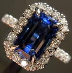 2.76ct Blue Emerald Cut Sapphire Ring R7939