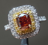 1.01ct Brown Orange I1 Cushion Cut Diamond Ring R8085