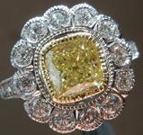 1.21ct Yellow I1 Cushion Cut Diamond Ring R8224