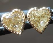 SOLD....0.90ctw Yellow SI2 Heart Shape Diamond Earrings R8283
