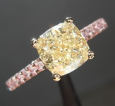 SOLD...1.51ct Light Yellow SI1 Cushion Cut Diamond Ring R8328
