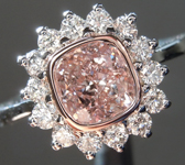 1.05ct Brown-Pink I1 Cushion Cut Diamond Ring R8407