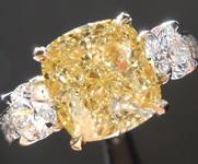 3.60ct Fancy Yellow SI1 Cushion Cut Diamond Ring R8415