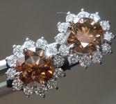 2.03ctw Brownish Orange Round Brilliant Diamond Earrings R8659
