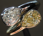 SOLD...1.07ctw Yellow and Colorless Pear Shape Diamond Ring R8662
