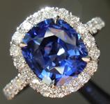 2.17ct Blue Cushion Cut Sapphire Ring R8832