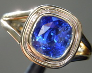 1.86ct Blue Cushion Cut Sapphire Ring R9202