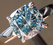 2.03ct Blue VS1 Cushion Cut Lab Grown Diamond Ring R9371