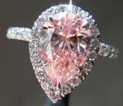 1.50ct Intense Pink SI1 Pear Shape Lab Grown Diamond Ring R9376