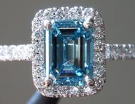 1.60ct Blue VS2 Emerald Cut Lab Grown Diamond Ring R9413