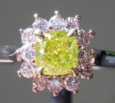 0.52ct Green Yellow SI2 Cushion Cut Diamond Ring R9455