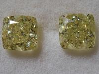 2.42ctw Yellow Cushion Cut Diamond Earrings R9685