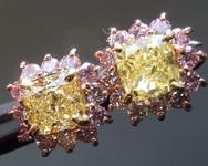1.26ctw Fancy Yellow Cushion Cut Diamond Earrings R6862