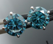 3.01ctw Green Blue SI2 Lab Grown Diamond Earrings R9634