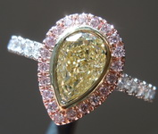 1.02ct W-X VS2 Pear Pink Lemonade Diamond Ring R7951
