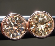 1.04ctw Brown VS1 Round Brilliant Diamond Earrings R9379